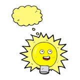 Birne des elektrischen Lichtes der Karikatur mit Gedankenblase Stockbilder