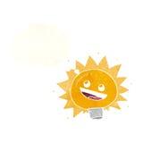 Birne des elektrischen Lichtes der Karikatur mit Gedankenblase Lizenzfreies Stockbild