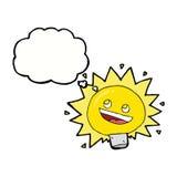 Birne des elektrischen Lichtes der Karikatur mit Gedankenblase Lizenzfreies Stockfoto