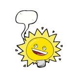Birne des elektrischen Lichtes der Karikatur mit Spracheblase Stockfotos
