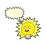 Birne des elektrischen Lichtes der Karikatur mit Spracheblase Stockbild