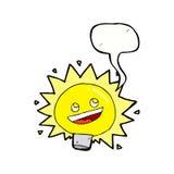 Birne des elektrischen Lichtes der Karikatur mit Spracheblase Stockfotografie