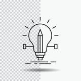 Birne, kreativ, Lösung, Licht, Bleistift Linie Ikone auf transparentem Hintergrund Schwarze Ikonenvektorillustration vektor abbildung