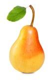 Birne mit Blatt Stockfoto