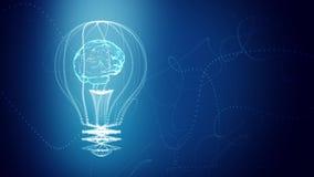 Birne mit einem Gehirn innerhalb des Konzeptdesigns, blauer abstrakter Hintergrund digitale Animation Nahtlose Schleife, Wiederho stock footage