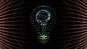 Birne mit einem Gehirn nach innen, Konzeptdesign digitale Animation stock footage