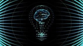 Birne mit einem Gehirn nach innen, Konzeptdesign im Blau digitale Animation stock video