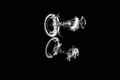 Birne mit schwarzem Hintergrund und Reflexion Stockbild