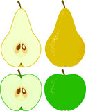 Birne und Apfel Stockfoto