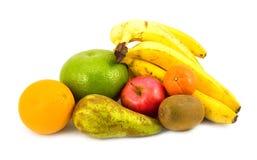 Birne und Apfel mit Orange Lizenzfreie Stockbilder