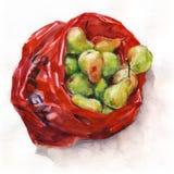 Birnen in einer roten Plastiktasche Stockbild