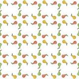 Birnen Grün, Gelb, roter Vektor Nahtloser Musterhintergrund mit bunten Früchten Stockbilder