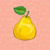 Birnenfrucht auf Farbhintergrund Auch im corel abgehobenen Betrag Stockfotografie