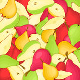 Birnenhintergrund Gelbe rote und grüne Vektormusterbirne trägt appetitanregendes Schauen der ganzen Scheibe Früchte Gruppe von ge Stockfotografie
