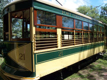 The Birney Car. Car # 21, also known as the Galloping Goose, is one of the few remaining operating antique streetcars, or trolleys, in the United States (Fort royalty free stock photography
