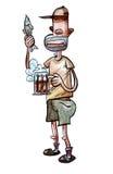 Birra bevente Fotografia Stock Libera da Diritti