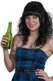 Birra bevente della donna Fotografie Stock