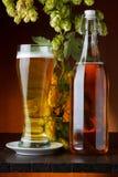 Birra con il luppolo sulla tavola di legno Immagini Stock