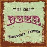 Birra d'annata Tin Sign Fotografie Stock