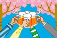 Birra del pane tostato, fondo del ciliegio royalty illustrazione gratis