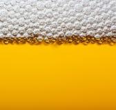 Birra del primo piano con gomma piuma. Immagine Stock