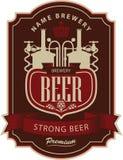 Birra dell'etichetta con la fabbrica di birra royalty illustrazione gratis