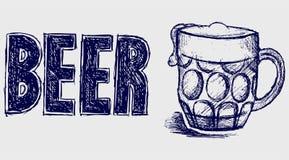 Birra della bottiglia e della tazza illustrazione vettoriale