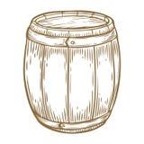 Birra di legno del mestiere, whiskey, barilotto dell'alcool del vino Annata di Brown incisa disegnata a mano Fotografie Stock