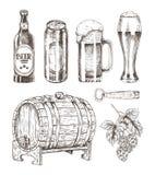 Birra e Ale Collection Isolated sul contesto bianco illustrazione vettoriale