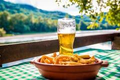 Birra e patate fritte Fotografia Stock