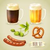 Birra e spuntini impostati illustrazione vettoriale
