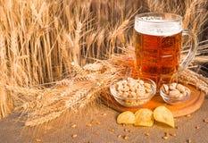 Birra e spuntini sul grano maturo del fondo Fotografia Stock Libera da Diritti