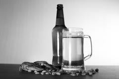 Birra e spuntino fotografia stock libera da diritti