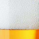 Birra a macroistruzione con schiuma Fotografia Stock