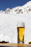 Birra in montagne di inverno Immagini Stock
