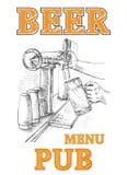 Birra nel rubinetto della birra e della mano Fotografie Stock Libere da Diritti