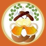 Birra, salsiccie e ciambellina salata di Oktoberfest di festival della birra illustrazione di stock