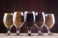 Birra scura ed ingredienti Fotografie Stock Libere da Diritti