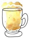 Birra in una tazza di vetro - uno stile di arte e di schizzo illustrazione del quadro televisivo per progettazione del menu royalty illustrazione gratis