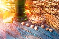 Birra verde, ingredienti, spuntini per il giorno del ` s di Patrick Fotografia Stock