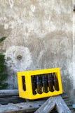 Birra vuota scura Bootle in contenitore giallo di caso sui pezzi di legno all'esterno davanti alla parete del cemento Fotografia Stock Libera da Diritti