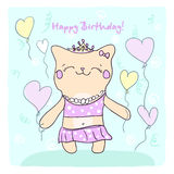 Birtday card with cute kitty and balloons. Royalty Free Stock Images
