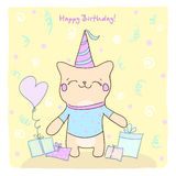 Birtday card with cute kitty and gifts. Stock Photo