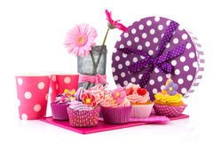 Birtday cupcakes and flowers Stock Image