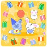 Birtday heureux ! Animaux et cadeaux mignons Photos stock