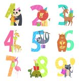 Birtday numbers animals. Party fun invitation for kids celebration characters animals of wildlife zoo vector cartoon royalty free illustration