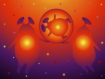The birth of an alien child from a pair of Martians. They are holding a cocoon ball with an infant on a space landscape background. They have their hearts Vector Illustration