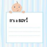 Birth Announcement Card. Baby boy, vector illustration royalty free illustration