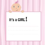 Birth Announcement Card. Baby girl, vector illustration royalty free illustration