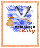 Birth announcement card. Baby birth announcement card with a stork carrying a child Stock Image